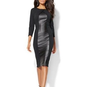 New York & Company Black Faux Leather panel dress
